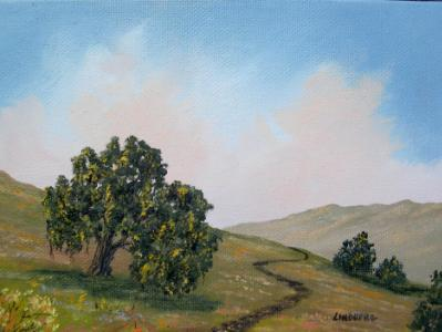 "Hillside Oak  5x7""  oil on canvas  SOLD"